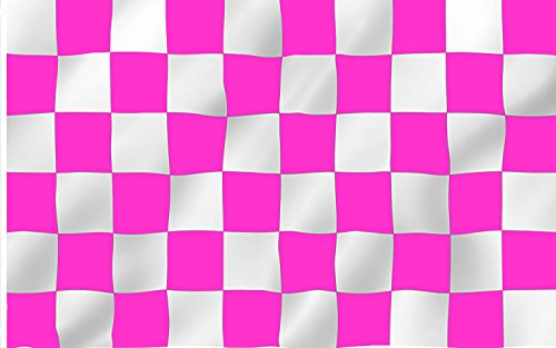 6 ft. Pink & White Checker Bicycle Safety Flag with Rear Axle Mounting Bracket (Bike Flag)