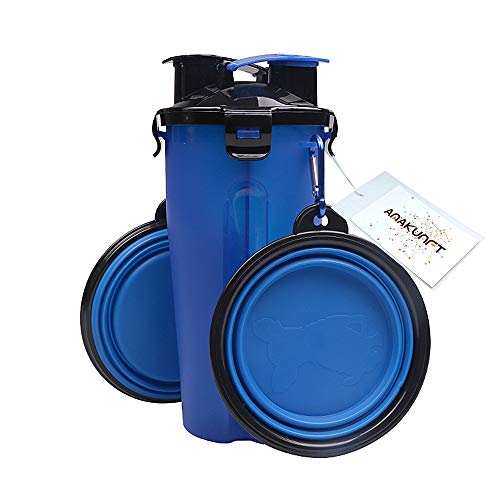 Amakunft Travel 2 in 1 Food Water Dog Bottle with Collapsible Dog Bowls, Outdoor Dual Chambered Storage Container Portable Cat Food Water Bottle for 350ml/12oz Water and 250g Snack