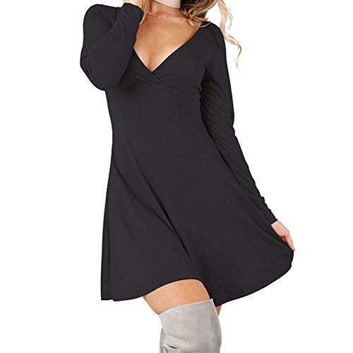 Women's Sexy V neck Long Sleeve Wrap Front Cross A-Line Causal Dress