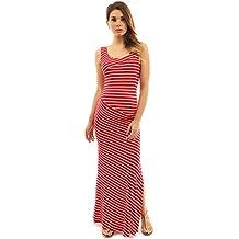 PattyBoutik Mama Striped Scoop Neck Maternity Maxi Dress