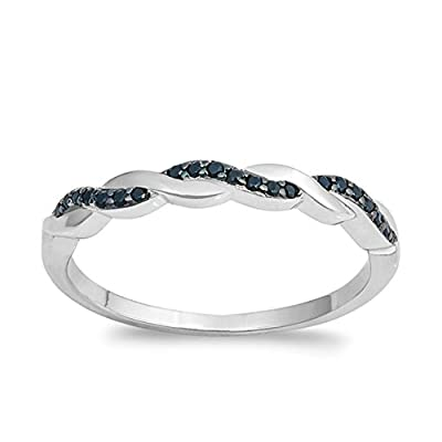 Black Cubic Zirconia Half Way Braided Band Ring Sterling Silver get discount