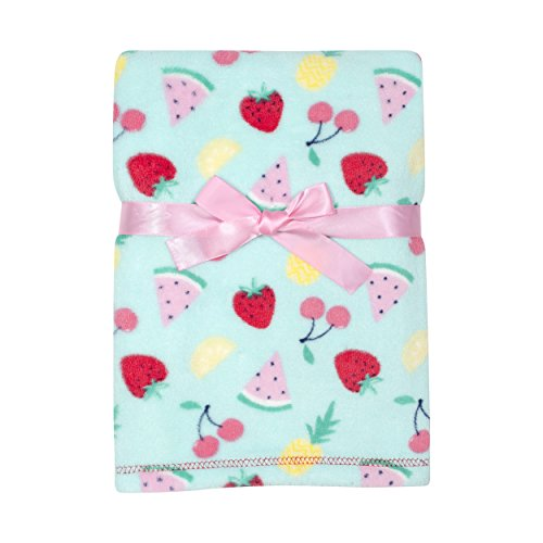 Baby Gear Plush Velboa Ultra Soft Baby Girls Blanket 30 x 40, Fruit by Baby Gear