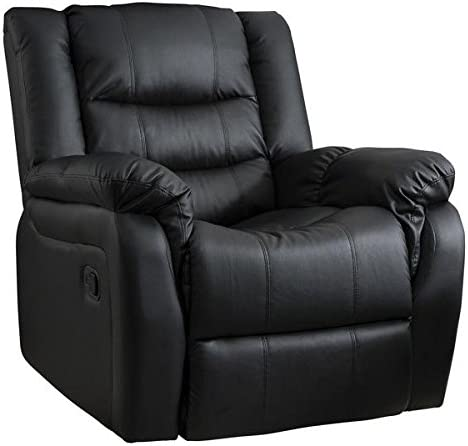Laura James Bonded Leather Recliner Armchair | Home Lounge Reclining Chair | Cinema & Gaming | Black