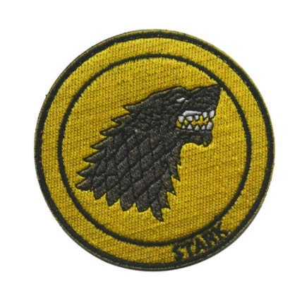 Red House Symbol Game of Thrones Stark Direwolf Military Patch Fabric Embroidered Badges Patch Tactical Stickers for Clothes with Hook & Loop -