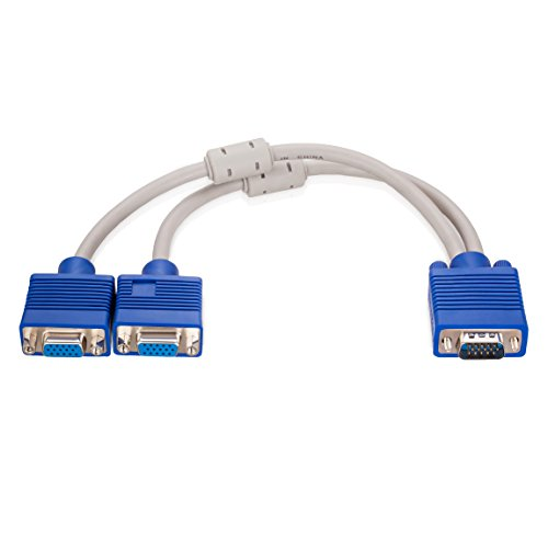 VGA Splitter,Ruaeoda VGA Monitor Y Splitter Cable VGA Male to Dual 2 VGA Female Adapter Converter Cable for Screen (Dvi Db15 Adapter)
