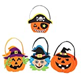 Fully 4er/Pack Halloween Party Mini Children Favor Trick Treat Cello Goody Pumpkin Witch Bags Handbag for Candy Cookie Gift
