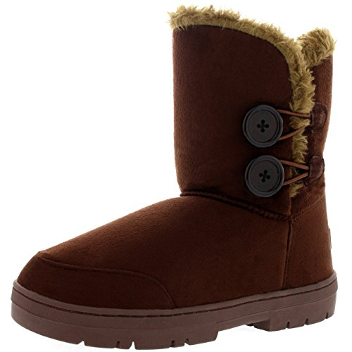 Womens Twin Button Fully Fur Lined Waterproof Winter Snow Boots ,7 B(M) US,Brown (Snow Moon Boots Winter)