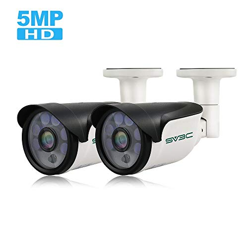 POE Camera, SV3C 5 Megapixels Security IP Camera Outdoor/Indoor Super HD 2592×1944 Night Light Video Surveillance Home IP Camera, Waterproof Security Outdoor Motion Camera with H.265 ONVIF (2 Pack)