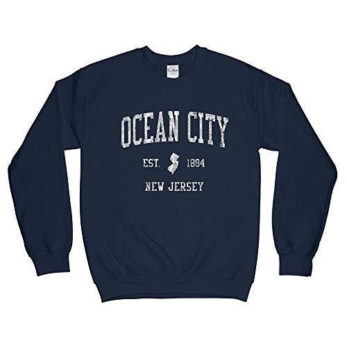 Ocean City New Jersey NJ Sweatshirt - Vintage Athletic Sports Retro State Design - Navy Blue Adult Large (Unisex) (Distressed Jersey Sweatshirt)