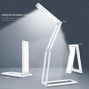 KRX Small LED Desk Lamp, Anti Blue Light Reading Desk Light for Home Office, Eye-Caring Edge Lit Design Full Spectrum Table Lamps, Adjustable Brightness, Foldable & Portable, Energy & Space Saving