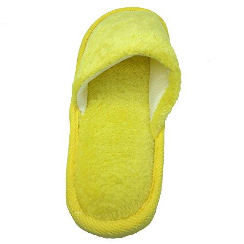 Angelliu Femmes Hommes Printemps Hiver Pantoufles De Coton Chaud Intérieur Maison Chaussures Pantoufles Jaune