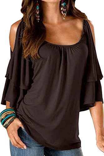 Brown Ruffle - Ellie's Women's Summer Cold Shoulder Ruffle Sleeve Loose Stretch Tops Tunic Blouse Shirt