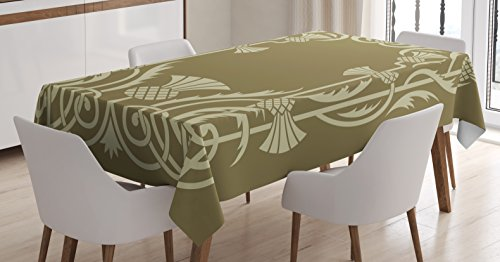 Ambesonne Art Nouveau Tablecloth, Floral Border with Tropical Pineapple Fruits Leaves Retro Style Swirls, Dining Room Kitchen Rectangular Table Cover, 60 W X 90 L Inches, Sepia Sage Green