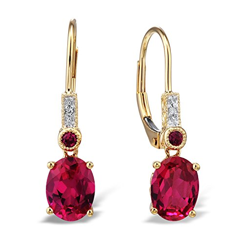 Created Ruby Drop Earrings Filigree Engraving Diamond Accent 10k Yellow Gold White Rhodium Plated Accents (Diamond Filigree Earrings)