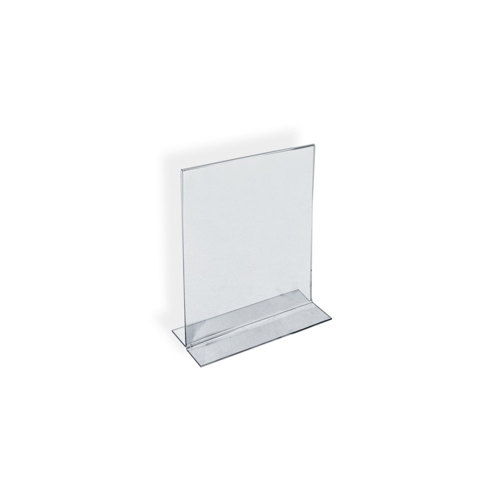 Azar Displays 152723 7-Inch Width by 5-Inch Height Double-Foot Acrylic Sign Holder, 10-Pack