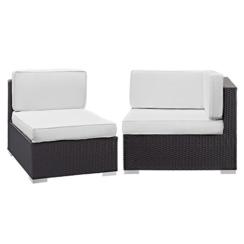 Plutus Brands MF1890 Corner and Middle Outdoor Patio Sectional Set, Espresso White -