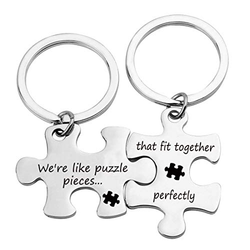 Long Distance Gift Couples Puzzle Keychain We're Like Puzzle Pieces that Fit Together Perfectly keychain (Puzzle Fit Together KR)