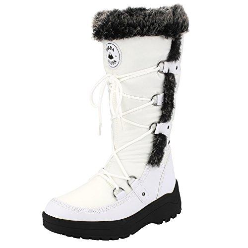Sibba Dames Kniehoge Waterbestendige Warme Sneeuw Laarzen Eskimo Winterbont Regen Ski-boot Wit