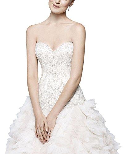 maglia complesso in abito Composizioni lusso Bianco mano tulle fitta perline sposa di a GEORGE BRIDE da floreali TFx0q