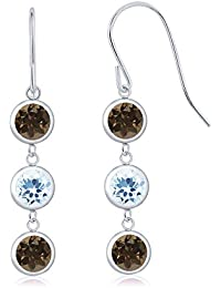 2.84 Ct Round Brown Smoky Quartz Sky Blue Topaz 925 Sterling Silver Three Stone Dangle Earrings
