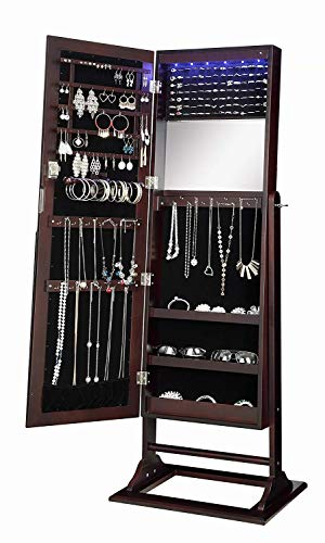 Abington Lane Standing Jewelry Armoire - Lockable Cabinet Organizer with Full Length Mirror and LED Lights -