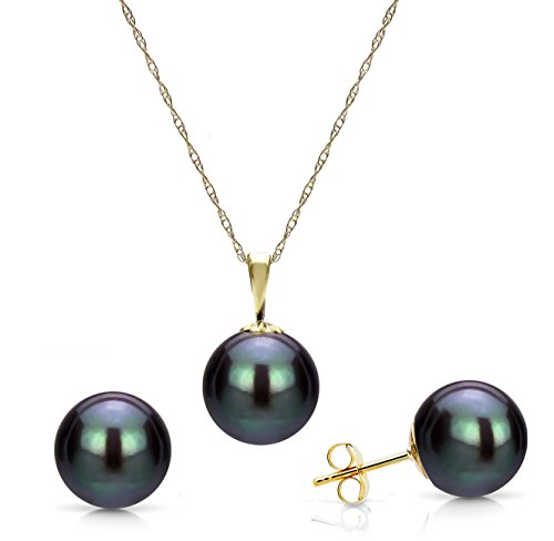 Black Cultured Freshwater Pearl Stud Earrings and Pendant Necklace Chain Set Bridal Jewelry ()