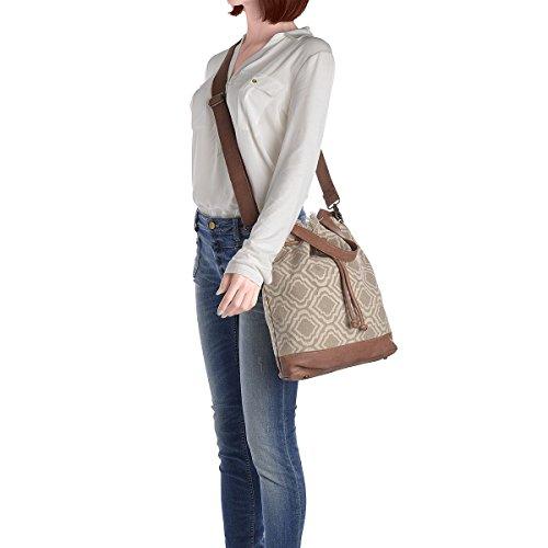 DESIDERIUS Bucket Bag Loona Handtasche Damen Canvas Leder Beige/Mauve