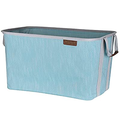 CleverMade Collapsible Fabric Laundry Basket - Durable Pop Up Storage Organizer with Handles - Space-SAVING XL Clothes Hamper with Sturdy Frame, Teal/Grey - Heavy-duty polyester folding baskets have the ability to fold down flat to less than 2 inches when not in use - perfect for a small apartment, condo or a college dorm room where space is limited Holds more than 2 loads of dirty laundry including delicates, sheets, towels and linens - can also be used for organization in your home to store pillows, large blankets, diapers and kids toys Perfect utility totes to keep in your car trunk when out running errands - great for hauling groceries or for weekend travel with the family - more convenient than big plastic storage bins - living-room-decor, living-room, baskets-storage - 417DTF%2BFdNL. SS400  -