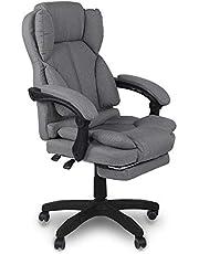 Trisens Kontorsstol, ergonomisk skrivbordsstol chefsstol med vadderade armstöd och huvudstöd, höjd justerbar 360° kontorssnurrstol tyg snurrstol, färg: ljusgrå