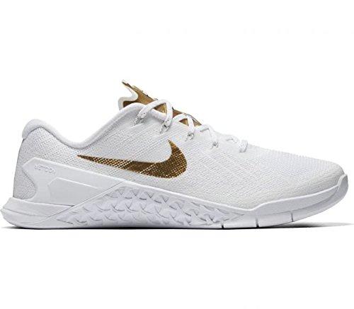 Women's Nike Metcon 3 AMP Training Shoe, WHITE/METALLIC GOLD, Size 6.5 (Nike Cross Bionic Shoes Women)