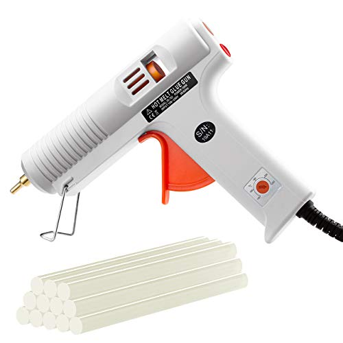 - TOPELEK 100W High Professional Industrial Hot Glue Gun with Sticks(12pcs 110mm)-with Temperature Adjustable and Non-drip Nozzle for Crafts DIY Projects Home Repair - White