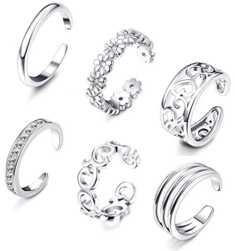 (FIBO STEEL 6 Pcs Open Toe Rings for Women Girls CZ Band Toe Ring Flower Celtic Knot Simple Toe Ring Gifts Jewelry Set Adjustable)