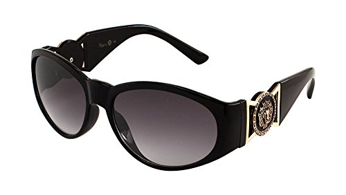 Kleo Oval Gold Lion Head Medallion Sunglasses (Black, - Sunglasses Biggie