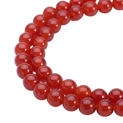 PH PandaHall PandaHall Elite 52Pcs 8mm Grade A Gorgeous Red Smooth Polish Natural Agate Round Loose Beads 8mm for Jewelry Making 15.5 inch (1 -