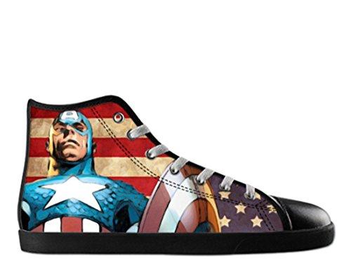 Mens Canvas High Top Shoes Capitan America Theme Capitan Canvas Shoes04