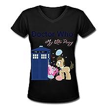 Buluew Women's Street Doctor Who My Little Pony O Neck V Neck T Shirt Size US Black