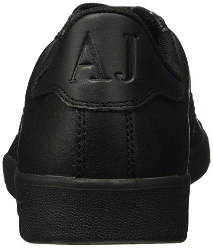 ... Armani Jeans Menns Lav Topp Semsket Skinn Snøre På Logo Sneaker Svart  ...