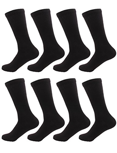 (BambooMN Men's Rayon from Bamboo Fiber Moisture Wicking Luxury Antibacterial Casual Dress Mid-Calf Socks - Black - 8prs, Size 6-10)