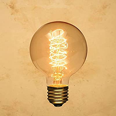 CTKcom Edison Vintage Filament Light Bulbs Globe Round (2 Pack)- G95 E27 Antique Incandescent Bulb 40W Equivalent Warm White Lamps,Spiral Tungsten,for Loft Coffee Bar Restaurant Kitchen Lights.