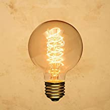 CTKcom Edison Vintage LED Filament Light Bulbs Globe Round (2 Pack)- G95 E27 Antique Incandescent Bulb 40W Equivalent Warm White Lamps,Spiral Tungsten,for Loft Coffee Bar Restaurant Kitchen Lights