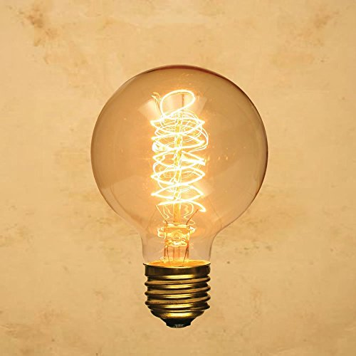 Round Bulb Light (CTKcom Edison Vintage Filament Light Bulbs Globe Round (2 Pack)- G95 E27 Antique Incandescent Bulb 40W Equivalent Warm White Lamps,Spiral Tungsten,for Loft Coffee Bar Restaurant Kitchen Lights.)