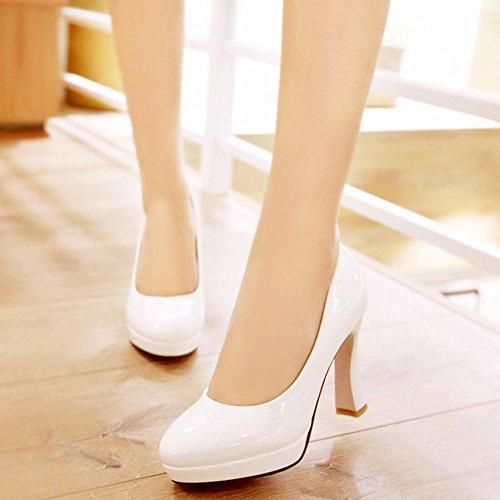 Des Pompes Haut Blanches Femmes Bureau Chaussures Bureau Taoffen Des Talon ZEX6qT