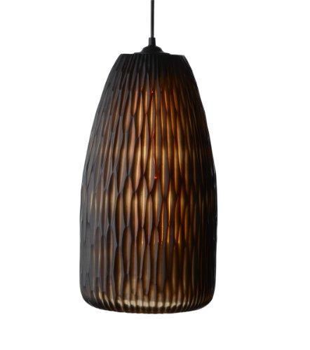 Lazy Susan ámbar bambú corte de lámpara colgante de vidrio