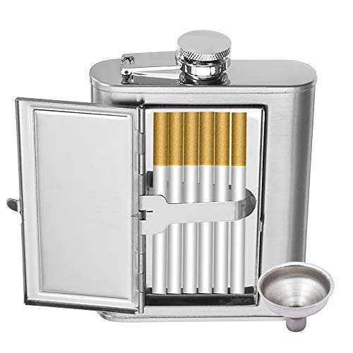 (MyLifeUNIT Metal Cigarette Case, Stainless Steel Liquor Flask with Cigarette Holder for Men and Women (6 oz/180 ml))