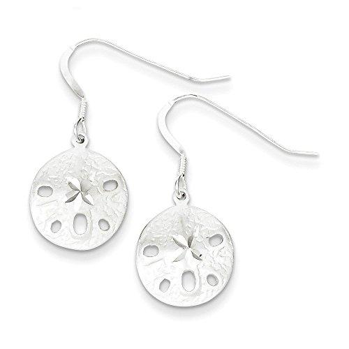 (Sterling Silver Sand Dollar Earrings (1.14 in x 0.51 in))