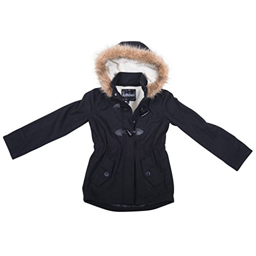 [[39717-TypicalBlack-10/12] Girl's Wool Blend Jacket: Toggle Coat, Fur Trim Hood] (Viking Outfits For Adults)