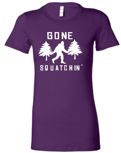 Small Purple Juniors Gone Squatchin' Gone Squatching Sasquatch Bigfoot T-Shirt