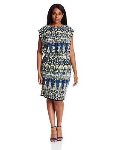 London Times Women's Round Neck Jersey Blouson Dress, Blue/Multi, 14