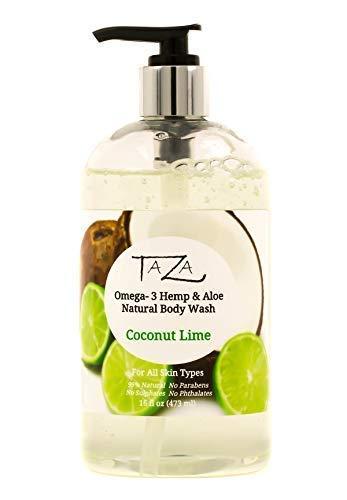 Premium Taza Natural Omega-3 Hemp & Aloe Coconut Lime Body Wash, 16 fl oz (473 ml) ♦ Soft Smooth Skin ♦ Contains:: Omega-3 Hemp Seed Oil, Aloe Seed Juice, Chamomile Flower, White Willow Bark Extract