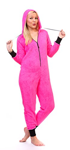 Totally Pink Women's Warm and Cozy Plush Neon Onesies for Women One-Piece Novelty Pajamas (Small, Neon Pink) -